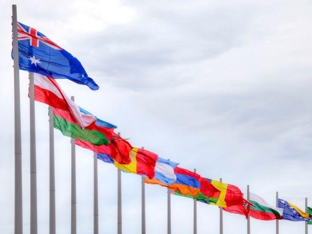 並べられた国旗
